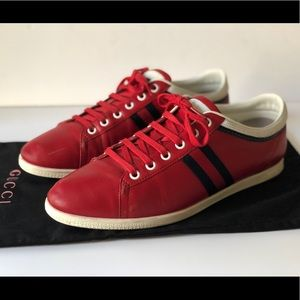 GUCCI WOMENS RED LEATHER LACE-UP SNEAKERS, SZ 39.5